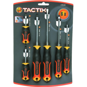 TACTIX - 6PC SCREWDRIVER SET - SLOT