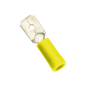 YELLOW MALE PUSH-ON SPADE TERMINAL - 100PK