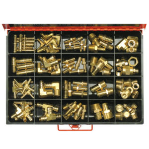 106PC MASTER BRASS HOSE FITTING ASSORTMENT