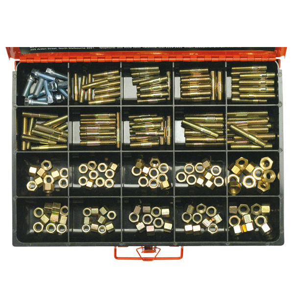 200PC MASTER MAINFOLD STUDS AND NUTS-BRASS & STEEL