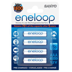 ENELOOP 750mAh 1.2V RECHARGABLE AAA BATTERY (4PK)